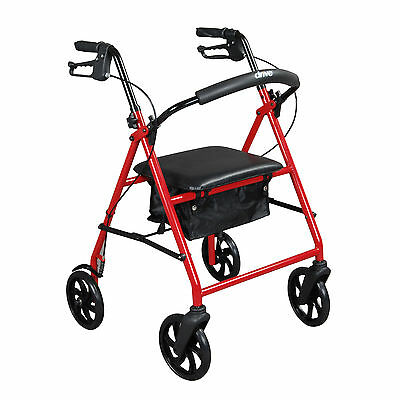 "Drive Medical R900RD Steel Walker Rollator with 8"" Wheels, Red"