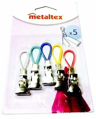 Metaltex Set Of 5 Coloured Tea Towel Clip Clips Hangers Holders