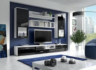 TV Wall unit FRANCO / FREE LED ! / TV stand / Living room furniture / High Gloss