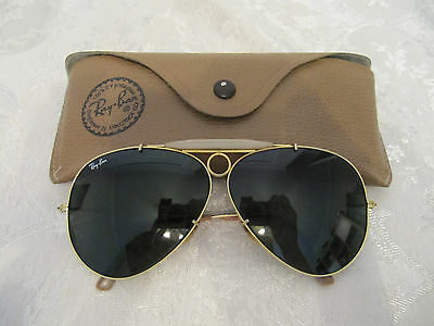 Vintage Ray Ban B&l Shooter Aviator Sunglasses Gold Frame & Case