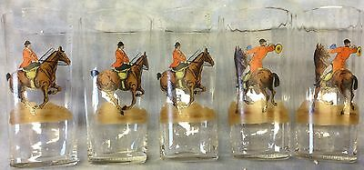 Fox Hunt Hunting Hand Painted Tumbler Glasses Bar Set