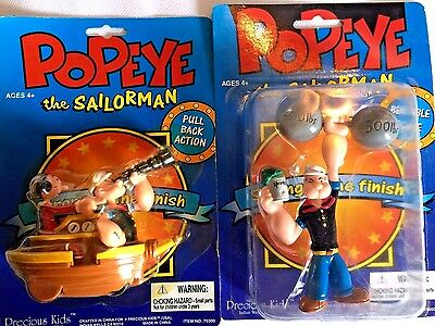 Precious Kids Popeye the Sailorman Action Figure lot Bendable Pull Back Toy NIP