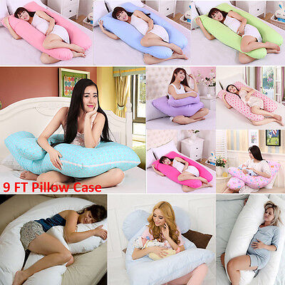 9 FT Comfort Body Back Support U Pillow Case Nursing Maternity Pregnancy Cotton