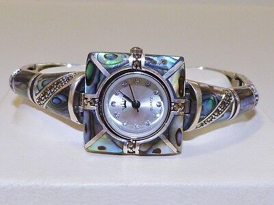 VINTAGE STYLE! Abalone MOP & Marcasite Bracelet Watch, Sterling Silver 925