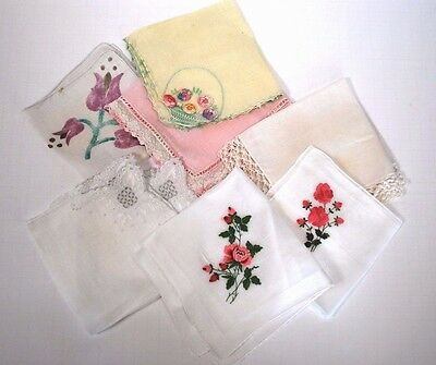 Lot of 7 Vintage Handkerchiefs Hankies Floral Crochet Lace Embroidered
