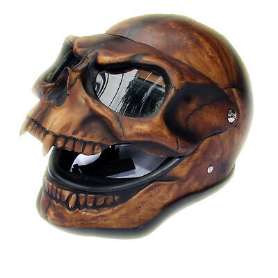 Brown Jack Skull Motorcycle Helmet Skeleton Airbrushed NOVELTY Custom Predator