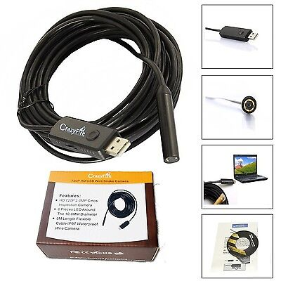 CrazyFire 2.0MP HD 720P Coms 6 LEDs USB Snake Inspection Camera Pipe Loca... NEW