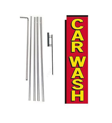 Car Wash red/yellow 15' Advertising Rectangle Banner Flag w/ pole+spike swooper