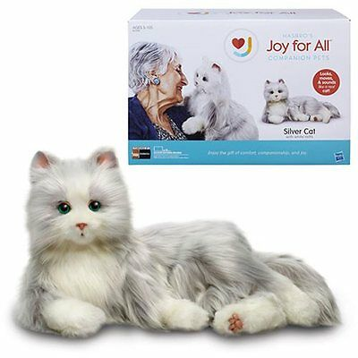 Hasbro New * Joy For All Cat - Silver * Realistic Long Hair Purrs Companion Pet