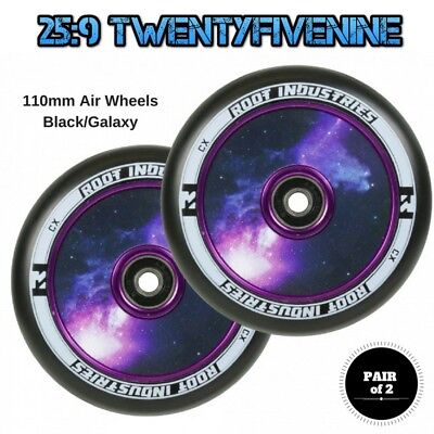 2 x Root Industries 110mm Air Scooter Wheels BLACK / GALAXY