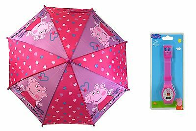 """Party Favors E-ONE Pink Peppa Pig 27"""" Kids' Umbrella Plus LED Watch"""