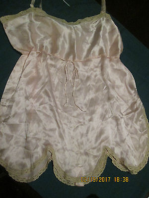 Ladies Antique/vintage Lingerie Pink Romper Trimmed In Lace W/scalloped Edge