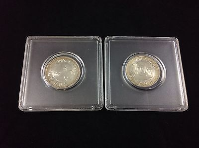 Lot Of 2 Uncirculated 1964 Japan 100 Yen Silver Foreign Coins