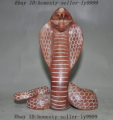 "6"" Old chinese shoushan stone hand carved animal zodiac snake town house statue"