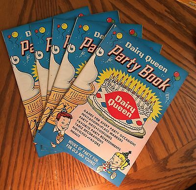 5 Vintage 1960 Dairy Queen  Party Books. 20 Pages. Excellent Condition.