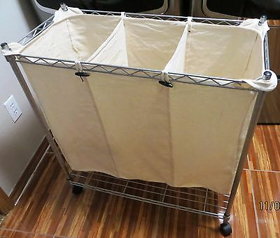 Whitmor Supreme Laundry Sorter, Chrome and Canvas