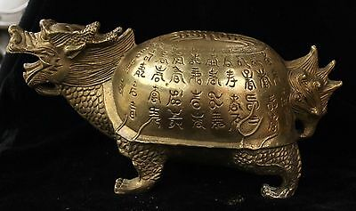 China Fengshui Bronze Brass longevity Animal Dragon Turtle Tortoise lucky Statue