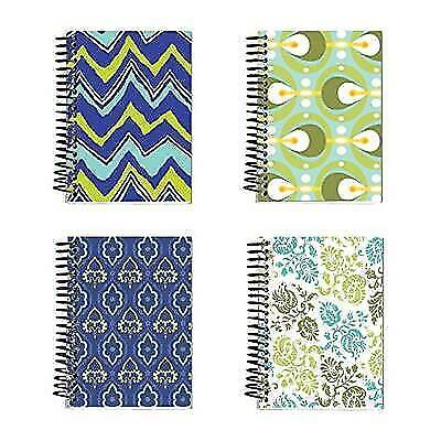 """Spiral Bound Thick Notebook Set (4 Notepads Total) 5.5"""" x 4"""" - 160 Lined Pages"""