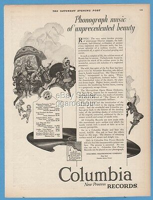 1923 Columbia Phonograph Record A-6218 Tschaikowsky Borodine Satyr art Ad
