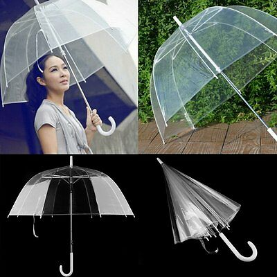 Clear Mushroom Umbrella Handle Transparent Dome See Through Walking Umbrella DX