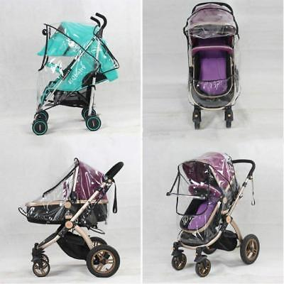 1x Universal Baby Stroller Pram Rain Cover Pushchair Wind Shield Transparent FW