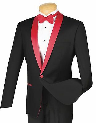 Men's Black 1 Button Slim Fit Tuxedo Suit w/ Red Sateen Lapel & Trim NEW Prom