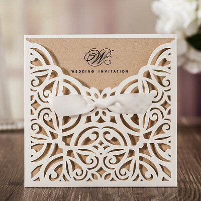 CW6179W, White Laser Cut Flowers Brown Paper Wedding Invitations Cards