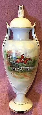 Fox Hunt Hunting Porcelain Urn Czechoslovakia