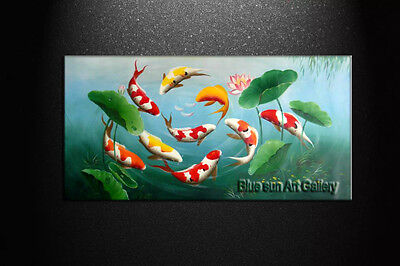 Huge Modern Abstract Art Oil Painting Wall Home Decor Canvas Feng Shui Fish Koi