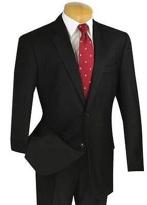 Men's Black 100% Wool 2 Button Classic Fit Suit NEW