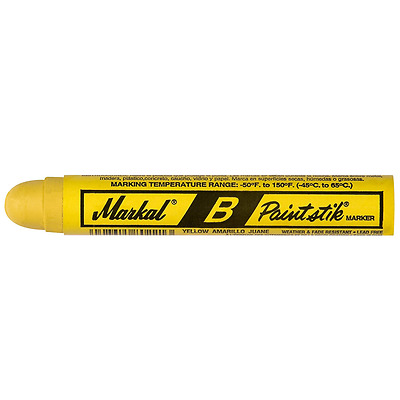 Markal 80221 B Paintstik Solid Paint Ambient Surface Marker, Yellow (Pack of 12)