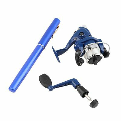 Telescopic Mini Portable Pocket Fish Pen Aluminum Alloy Fishing Rod Pole+Reel QW