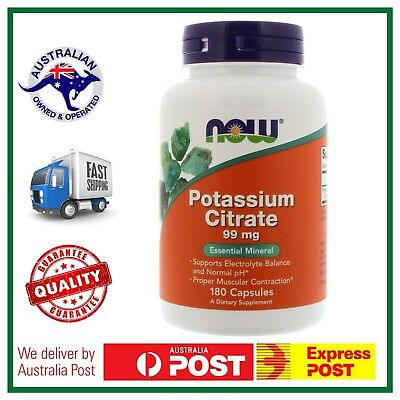 POTASSIUM CITRATE 180 Caps 99mg NOW Foods - Essential Mineral - AUS SELLER