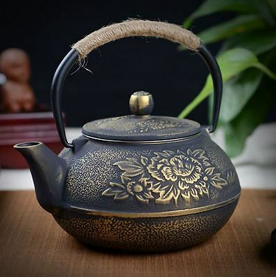 Cast Iron Pot Uncoated Iron Teapot Southern Japan Japanese Peony Big Iron Kettle