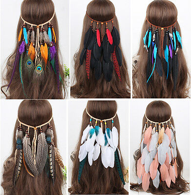 Indian Peacock Feather Headband Fancy Headdress Carnival Headpieces Festival