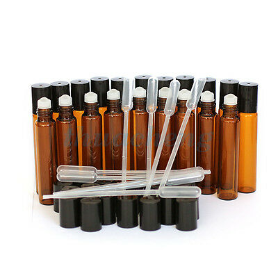 (27+10)Pcs Roll on Bottles With Glass Roller Ball Amber 10ML For Essential Oils#