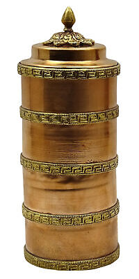 Traditional Tibetan Buddhist Table Top Religious Copper Prayer Wheel 6.2 Inches