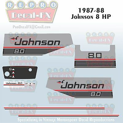 1987-88 Johnson 28HP SPL Sea-Horse Outboard Reproduction 11Pc Marine Vinyl Decal