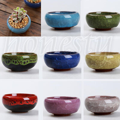 Ice-Crack Glaze Flower Ceramics Succulent Plant Mini Pot Garden Flowerpot NEW