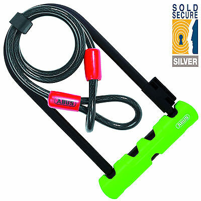 Abus Ultra 410 Bicycle U Lock With 1.20M Steel Cable Sold Secure Silver Security