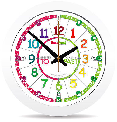 NEW!! Kids 29cm Easy Read Time Teacher Clock Learn to Tell Time Colour face