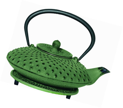 G&H Tea Services Shimizu Japanese Tetsubin 23-Ounce Teapot and Trivet, Green