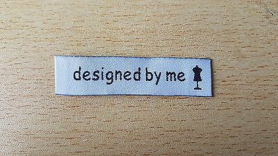 25 DESIGNED BY ME motif woven fabric labels clothing knitting sewing handmade UK