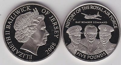 2008 Jersey Bomber Command Base Metal £5 Crown In Near Mint Condition