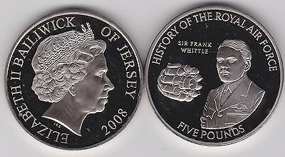 2008 Jersey Sir Frank Whittle Base Metal £5 Crown In Mint Condition