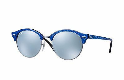 Ray Ban RB4246 984/30 Clubround Blue Gunmetal Black & Silver Flash Sunglasses