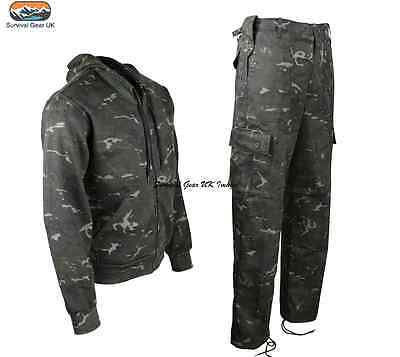 Black BTP Hoodie & Trouser Combo Camo Airsoft Paintball Tactical Military Army