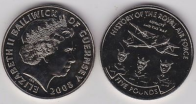 Guernsey 2008 Royalty And The Raf Base Metal £5 Crown In Near Mint Condition
