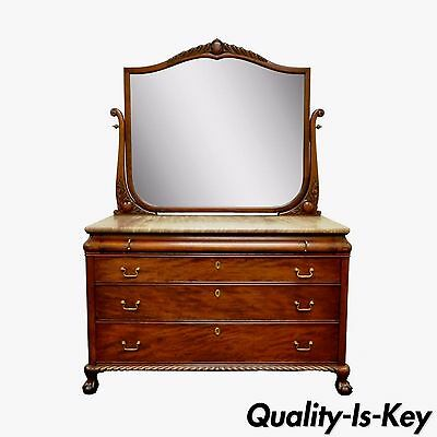 Antique Victorian Marble Top Carved Mahogany Ball and Claw Foot Dresser & Mirror