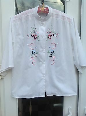 "White blouse by silken ladder embroidery on front  s/sleeve  Size M 42"" Chest"